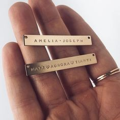 """Gold 1.75"""" Everly Bar Necklace shown in Shiny and Matte Finish  Handmade Jewelry   Personalized Nameplate Necklace   Gold Bar Necklace   Extra Long Bar Necklace   Custom Gold Jewelry  @mymadebymary   @madebymarywithlove via Instagram"""