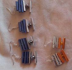 Boucle d'oreille pendentif pour oreilles percées, crochet en argent.Faites en capsules Nespresso plusieurs longueurs de tubes et différentes couleurs.Hauteurs différentes suivan - 19615327