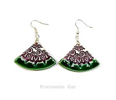 ceramic jewerly , green purple ceramic earrings, handmade , ceramic jewerelly