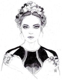 Fashion Sketch - black & white fashion illustration