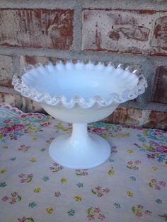 "Beautiful Vintage ""Fenton"" Unmarked White Milk Glass Silver Crest - Pedestal Candy / Nut / Decorative Dish / Bowl on Etsy, $12.95"