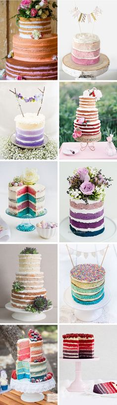 The Newest Rustic Cake Trend // Naked Ombre Wedding Cakes // www.onefabday.com