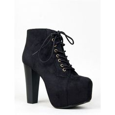 ROSA Bootie (51 AUD) ❤ liked on Polyvore featuring shoes, boots, ankle booties, heels, black, lace-up booties, chunky heel boots, black boots, ankle boots and black heeled boots
