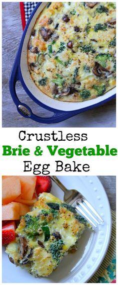 Crustless Brie & Vegetable Egg Bake #breakfast #brunch #recipe