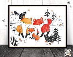 Originaldruck - ♥ Fuchs Familie ♥ Print von Aquarell - ein Designerstück von…