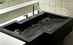 bench sinks bathroom concrete - Google Search
