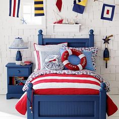 The Land of Nod | Kids' Bedding: Blue and White Striped Duvet Cover in Duvet Covers