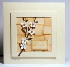 Woven background by Biggan - luv the shading on the edges that makes the shape show up more...beautiful card!!!