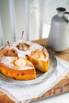 Backrezept für Möhrenkuchen mit versunkenen Birnen
