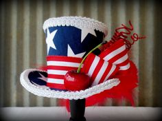 Patriotic, Red, White and Blue, Firework Mini Top Hat, Flower girl, Tea Party Mini Top Hat, Mad Hatter Hat, Alice in Wonderland, 4th of July...