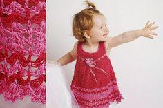 Patrón #252: Vestido de Bebé Fucsia a Crochet #ctejidas http://blgs.co/U8_iXB