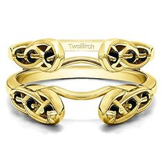 Infinity Celtic Ring Guard Enhancer with 024 carats of Black Cubic Zirconia in Yellow Plated Sterling Silver ** You can find more details by visiting the image link.(This is an Amazon affiliate link and I receive a commission for the sales)