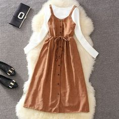 Buy Clementine Long-Sleeved Top / Midi A-Line Pinafore Dress / Set Modest Outfits, Modest Fashion, Fashion Dresses, Cute Outfits, Fashion Clothes, Long Jumpers, Fashion Over 50, Ladies Dress Design, Streetwear Fashion