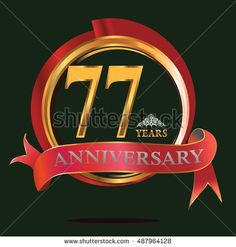 77 years golden anniversary logo with big red and gold ring. anniversary logo for birthday, celebration, wedding and party