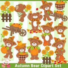Autumn is fun and a wonderful season! Adorn any art projects with this Autumn Bear Clipart Set, also perfect for designing your art projects, paper crafts, scrapbooking, invitations, web design, printables and much more!