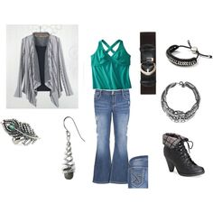 """Plus Size Gray Cardigan with Jeans and Peacock Teal"" by intcon on Polyvore"
