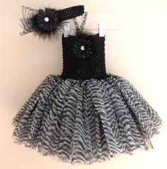 Black Zebra Tutu Dress and matching Headband Set