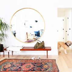 Novel Small Living Room Design and Decor Ideas that Aren't Cramped - Di Home Design Small Living, Home And Living, Large Round Mirror, Round Mirrors, Oversized Round Mirror, Foyer Decorating, Bohemian Decorating, Boho Room, Entryway Decor