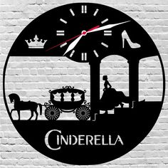 Gifts for christmas/Cinderella/Disney by on Etsy Record Decor, Vinyl Record Crafts, Record Art, Vinyl Records, Wooden Gear Clock, Wooden Gears, Disney Wall Stickers, Cinderella Disney, Clock Art