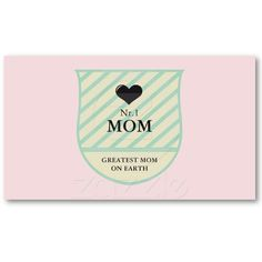 WORLDS BEST MOM CREST GREEN YELLOW PINK BUSINESS CARDS