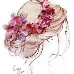 70 Trendy Ideas For Design Illustration Fashion Grace Ciao Grace Ciao, Hair Illustration, Illustration Fashion, Fashion Illustrations, Girly Drawings, Arte Floral, Anime Art Girl, Art Sketches, Dress Sketches