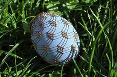 Vajíčka zdobená drátkem - modré