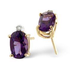 Amethyst 0.80CT And Diamond 9K Yellow Gold Earrings. #thediamondstoreuk #bridesmaid #gift #wedding #earrings #jewellery