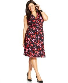 Jones New York Collection Plus Size Printed Faux-Wrap Dress