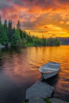 Beautiful sunset boat in Honefoss, Norway