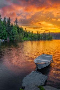Beautiful sunset boat in Honefoss, Norway