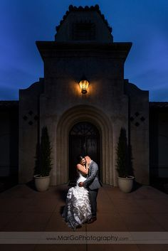 bride and groom in front of Poppy Ridge Golf Course in Livermore