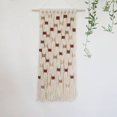 hand made using thick ivory yarn coiled with fine, warm tones makes for a perfect statement piece the use of all yarns in this macrame designs adds a lightweight airy feel to the piece hangs from a 12 wooden dowel at about 24 in length Macrame Wall Hanging Diy, Macrame Art, Macrame Design, Hanging Tapestry, Sewing Projects For Kids, Peace And Love, Christmas Wreaths, Craft Supplies, Arts And Crafts