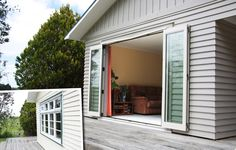 Before timber windows and after maximised openings with a Foldback bifold. Timber Windows, Timber Deck, Aluminium Windows, Outdoor Areas, Indoor Outdoor, Outdoor Decor, Deck Ideas Nz, Pool House Designs, Cottage Windows