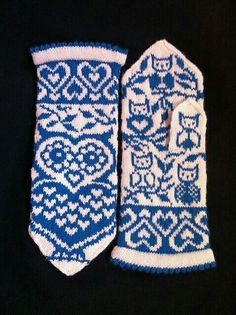 Ravelry: Lova Owl (Lova Kärleksuv) pattern by JennyPenny Crochet Mittens, Mittens Pattern, Knitted Gloves, Knit Crochet, Crochet Hats, Knitting Charts, Knitting Socks, Hand Knitting, Knitting Patterns