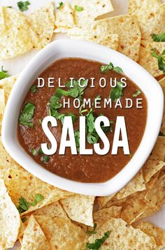 Quick and easy homemade salsa recipe. Made with simple on-hand ingredients. Great taste with just enough kick to make you come back for more!