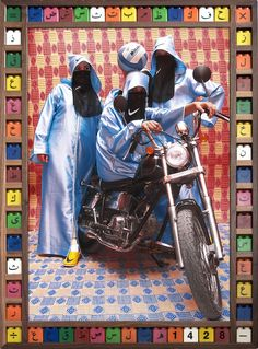 Here's a look at Hassan Hajjaj's photographs juxtaposing traditional Muslim clothing—hijabs, niqabs, babouches, and abayas—with Moroccan biker culture and famous Western brands, like Nike and Louis Vuitton.