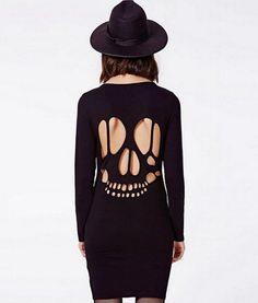 Slim O Neck Hollow Backless Long Sleeve Dress