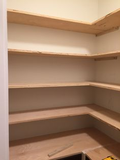 How to Build a Custom Pantry custom pantry shelves - Own Kitchen Pantry Kitchen Pantry Design, Kitchen Organization Pantry, Corner Kitchen Pantry, Pantry Shelving, Pantry Storage, Pantry Diy, Shelving Ideas, Pantry Ideas, Closet Ideas