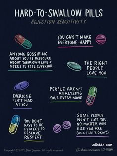 'The comics that show my life with ADHD' - Graphic entitled 'Hard to Swallow Pills' and a sub-heading of 'rejection sensitivity'. Forme Fitness, Web Comic, Affirmations, Mental Health Awareness, Mental Health Day, Mental Health Therapy, Mental Health Recovery, Improve Mental Health, Self Awareness