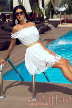 c3c9d94dc8de Rochie De Club alba cu broderie lasata pe umeri rochie casual pentru femei  rochie alba scurta
