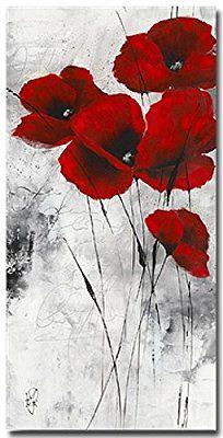 Pavot d'hiver IX , Kunstdruck, Poster von Isabelle Zacher-Finet , Grösse ungerahmt 50 cm x 100 cm , Kunstdruck mit Spotlack, Blumenbild , Mohnblumen, Wohnen und Bilder, wird in stabiler Versandrolle verschickt