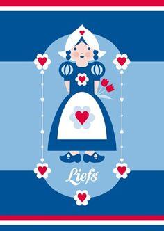 Ansichtkaart Rood-Wit-Blauw Boerin