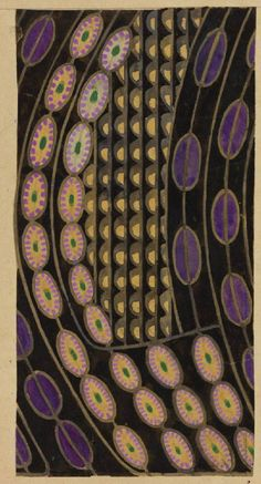 Textile design: stylised daisies: purple on black by Charles Rennie Mackintosh