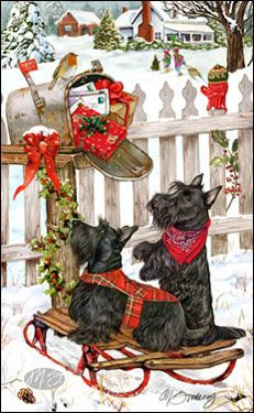 Scottish terriers  http://www.sweeneyholidaydogart.com/Home---Dog-Christmas-Cards.html
