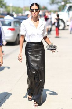 Perfect in every way - Mr. Rose would love this......need long leather skirt!!!    Photos: Best-Dressed Street Style at New York's Fashion Week | Vanity Fair