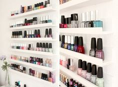 ikea ribba shelves racks hacks store nail polish organize - nagellak opbergen wand muur verzameling