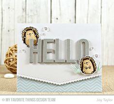 Happy Hedgehogs Stamp Set and Die-namics, Big Hello Die-namics, Stitched Scallop Basic Edges Die-namics - Joy Taylor #mftstamps