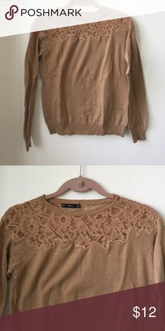 Zara sweater M (fittted) Sweater with lace beige Zara Sweaters Crew & Scoop Necks