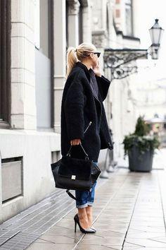 black coat, black celine bag, black pumps