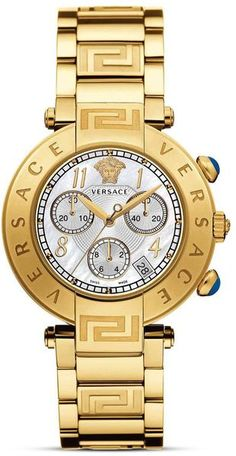 Versace Reve Chronograph Stainless Steel and Gold Pvd Watch 40mm in Yellow for Men (yellow gold)   Lyst